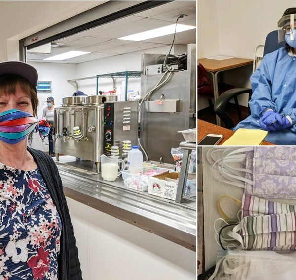 Images of face masks and two people in PPE and face masks