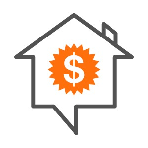 Icon of house with dollar sign