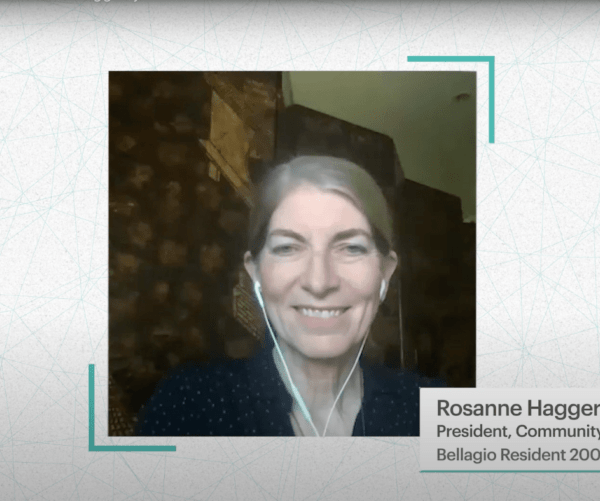 Screenshot of Rosanne Haggerty, President of Community Solutions, during virtual conversation